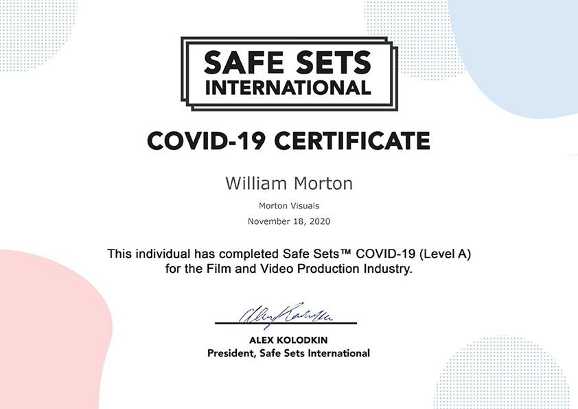 Morton Visuals' COVID Safety Certificate