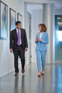 business lifestyle photography of executives walking and talking