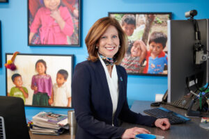 Corporate lifestyle photography of CEO Susan Salka in her office